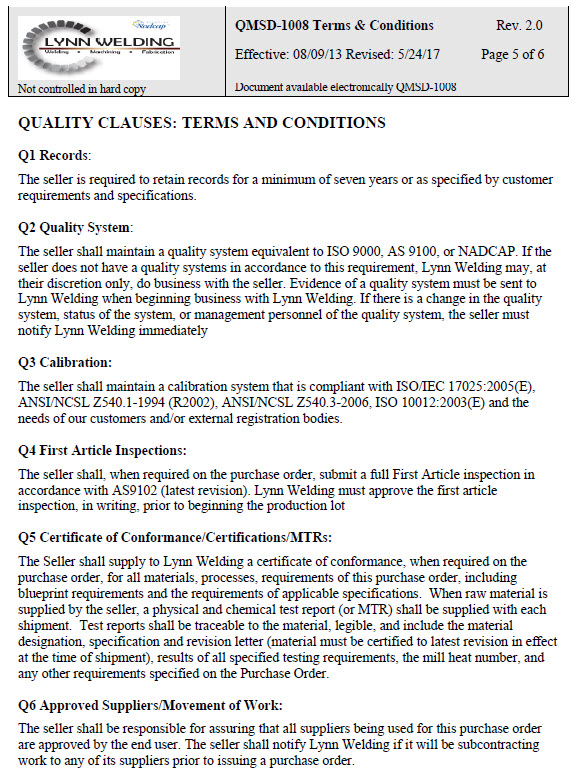 QMSD-1008 terms & conditions