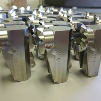 Titanium components welded in a vacuum chamber.