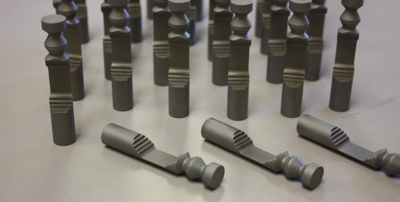 Wire EDM machining of hardened tool steel.
