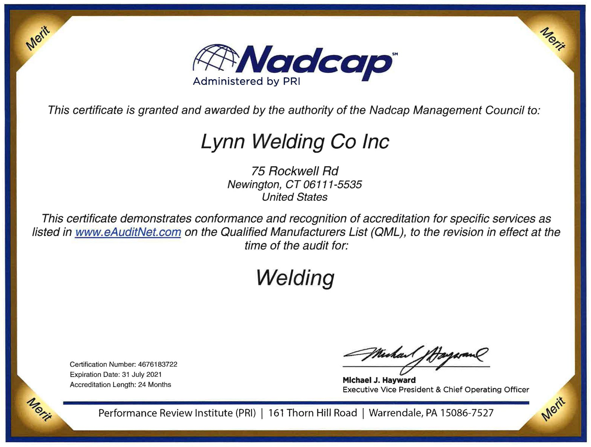 Nadcap Approved Services & Certified Welding
